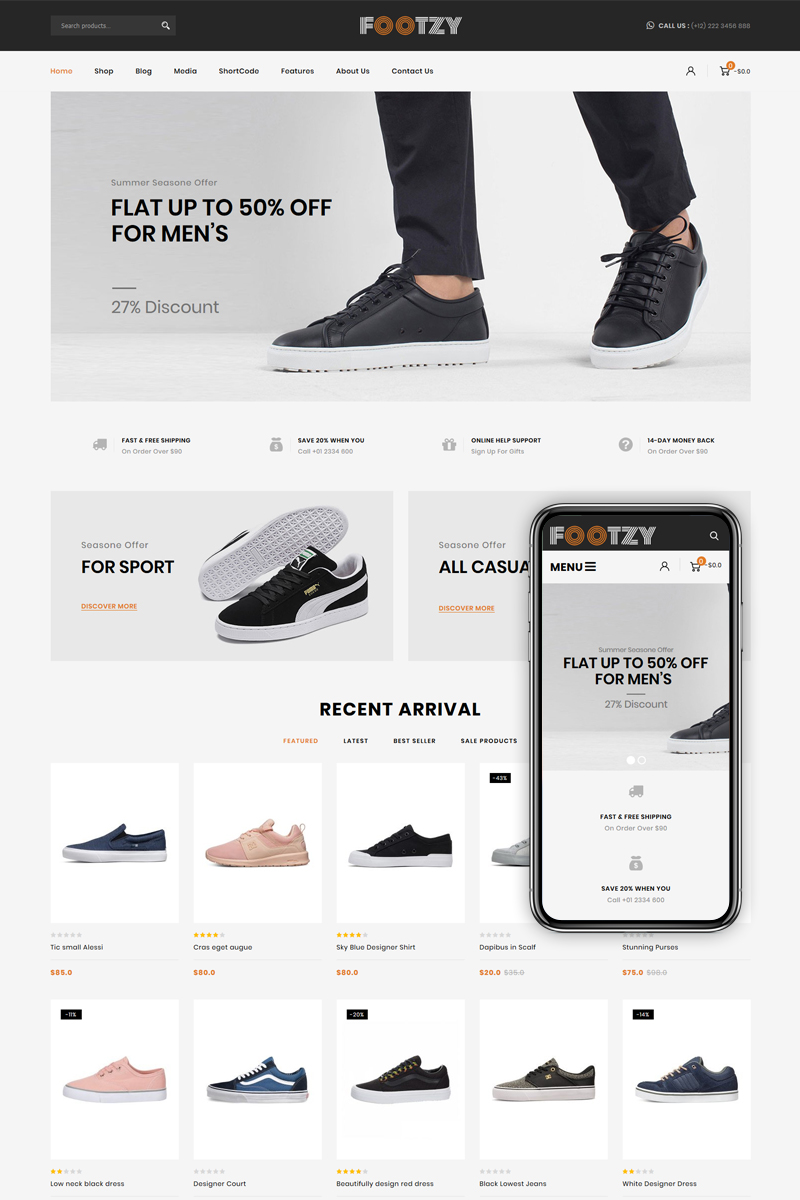 Responsivt Footzy - Shoes Store WooCommerce-tema #82793