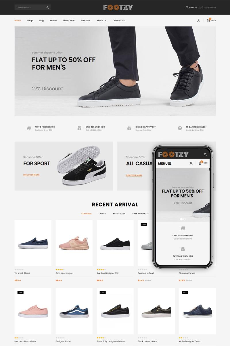 Reszponzív Footzy - Shoes Store WooCommerce sablon 82793 - képernyőkép