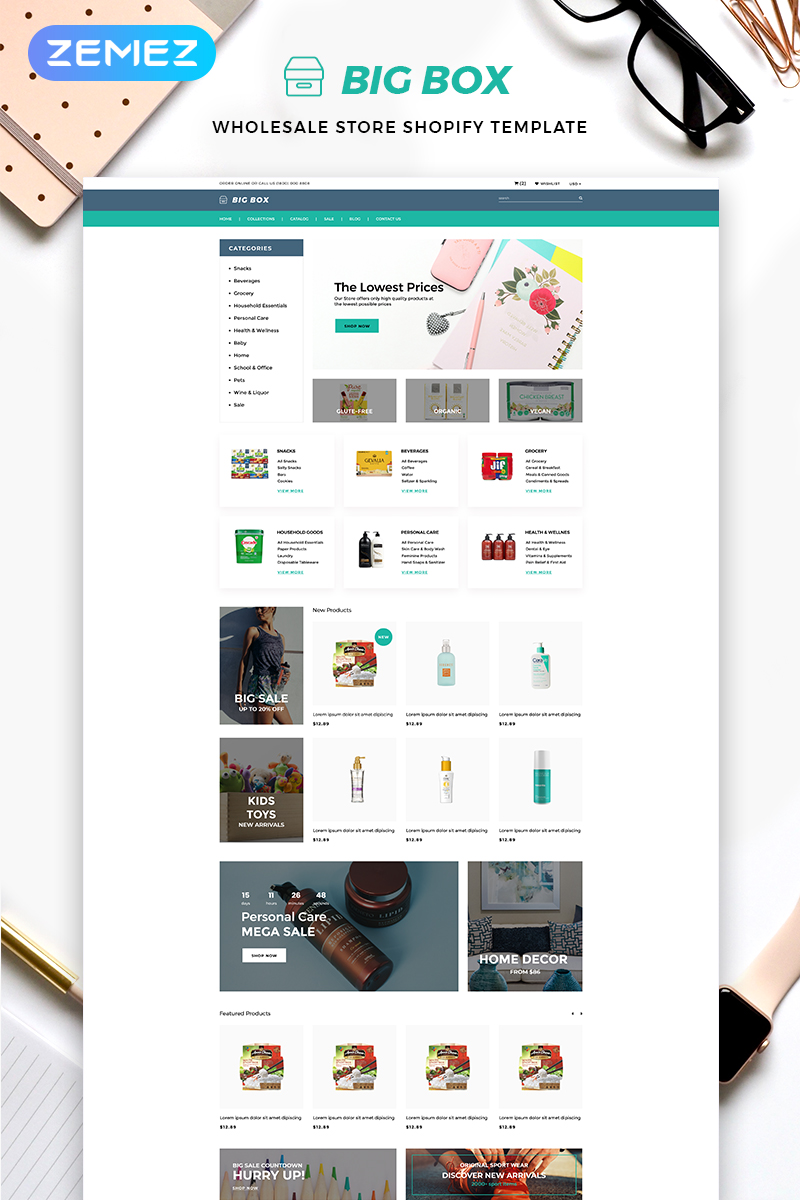"""Tema Shopify """"Big Box - Wholesale Store Multipage Clean"""" #82706"""