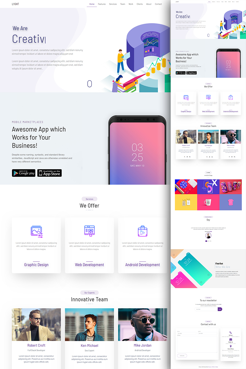 """Template di Landing Page #82720 """"LYGHT - Multipurpose Bootstrap"""""""