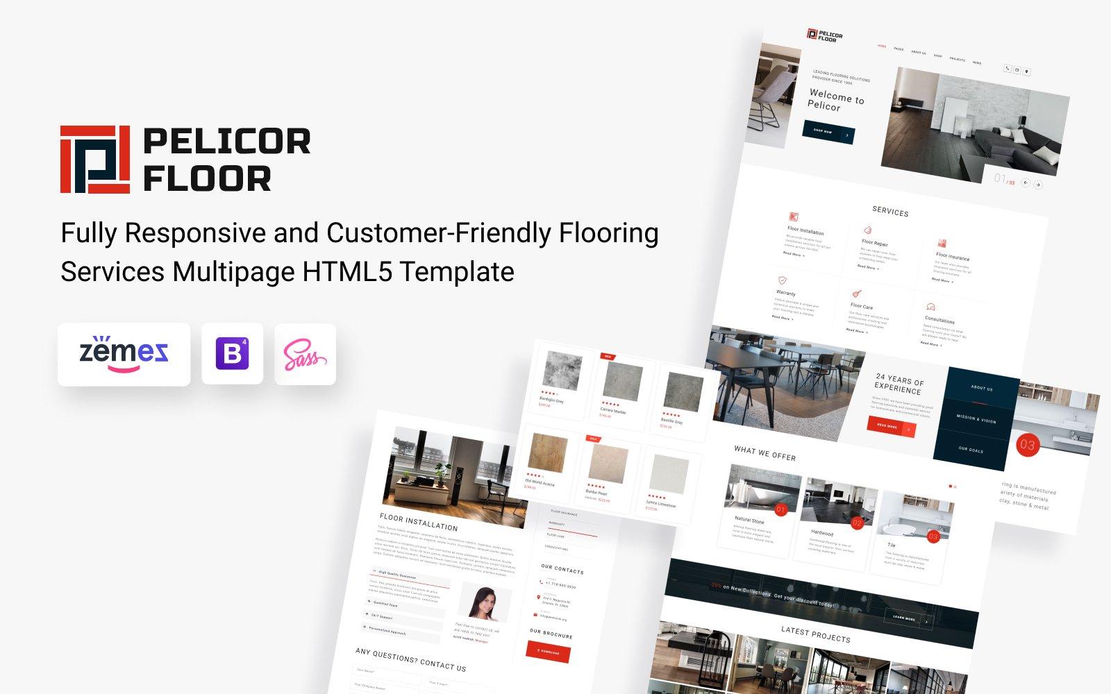 "Website Vorlage namens ""Pelicor Floor - Flooring Services Multipage HTML5"" #82723"
