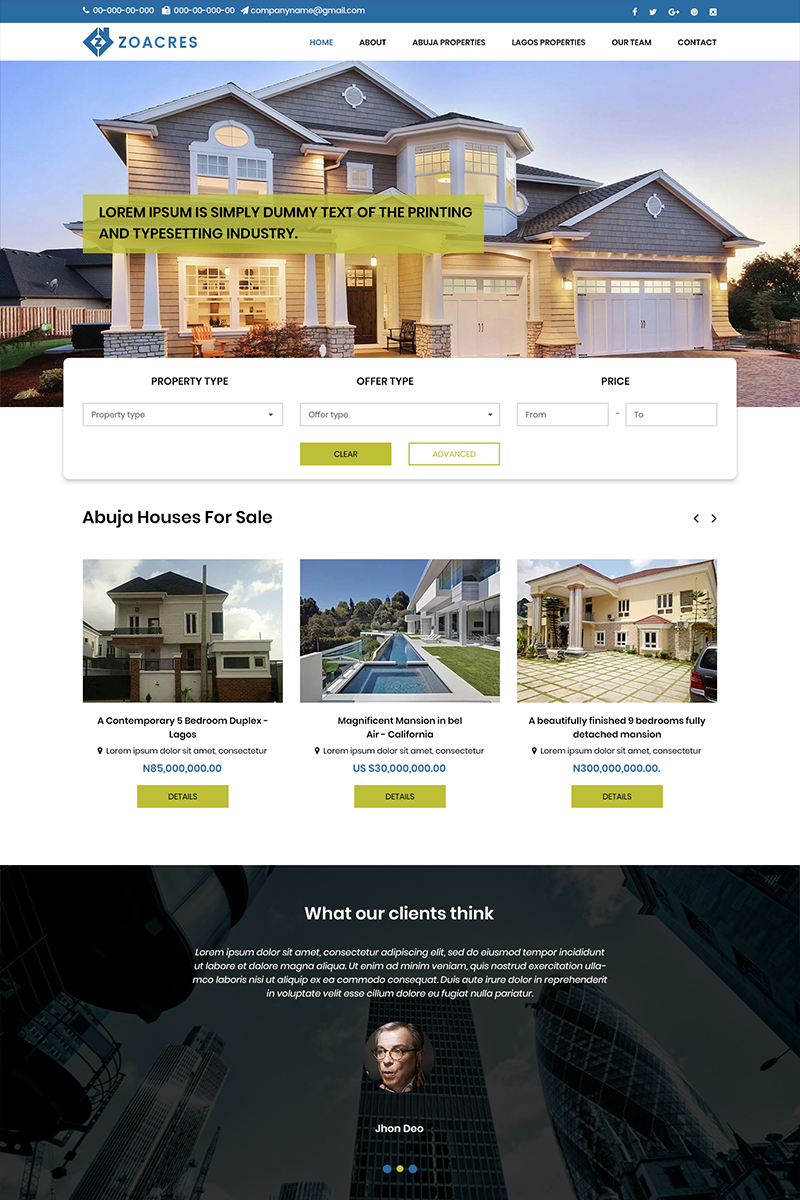 Zoacres - Real Estate Company PSD Template