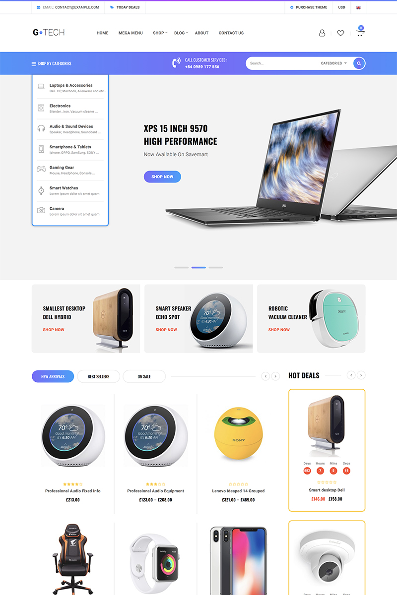 Gtech Electronics Shop Tema WooCommerce №82889