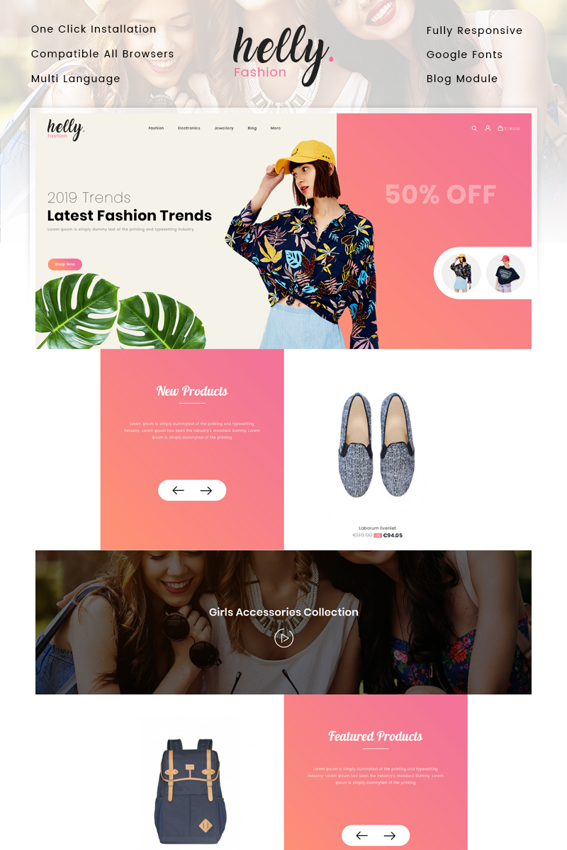 """Helly Fashion Store"" thème PrestaShop adaptatif #82809"