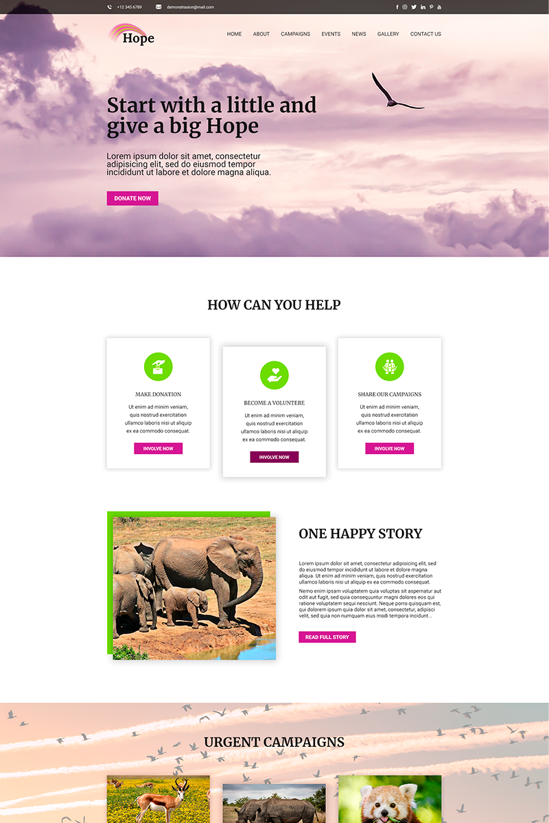 Hope | Charity PSD Template