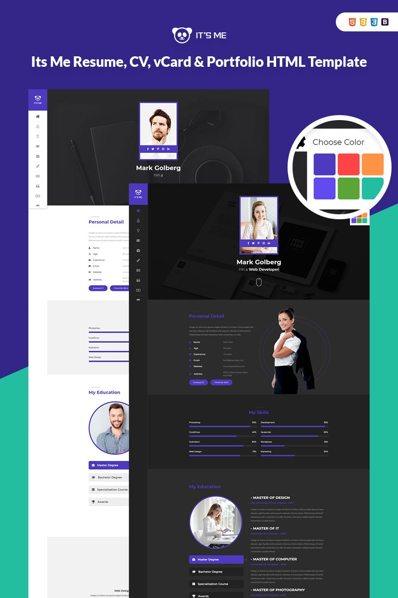 Its Me Resume, CV, vCard & Portfolio Landing Page Template