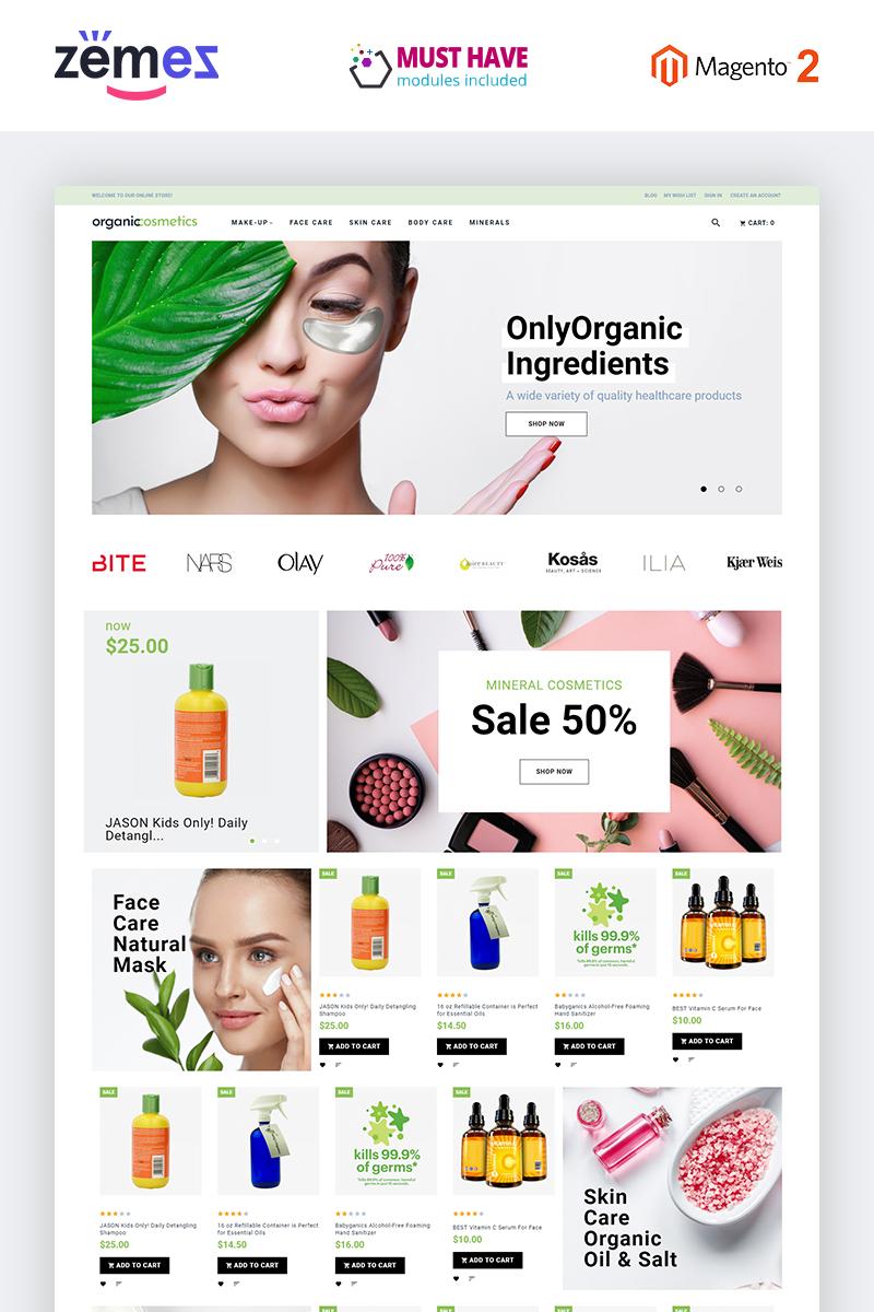 """""""OrganicCosmetics - Clean eCommerce Cosmetics Store"""" thème Magento adaptatif #82878"""