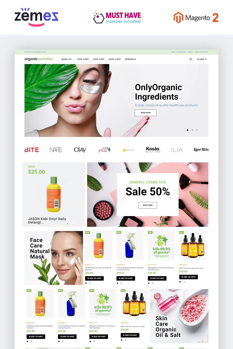 """OrganicCosmetics - Clean eCommerce Cosmetics Store"" 响应式Magento模板 #82878"