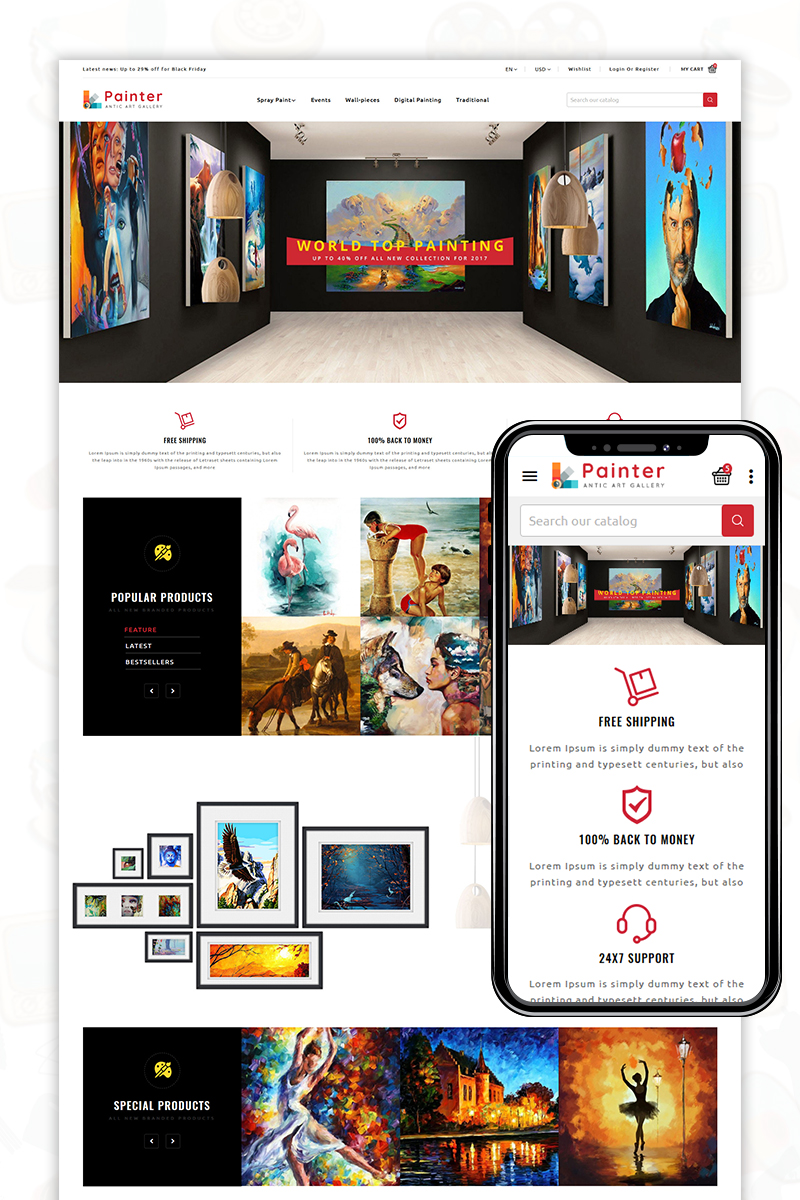 """Painter"" Responsive PrestaShop Thema №82847"