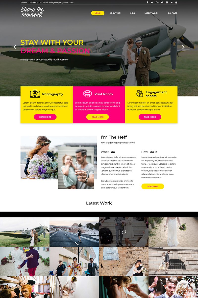Share the Moments - Wedding Photography PSD Template