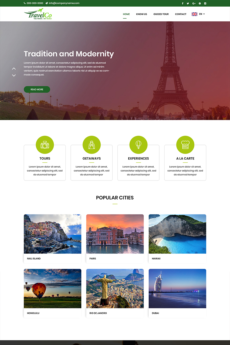 """""""Travel Co - Travel"""" PSD Template №82802"""