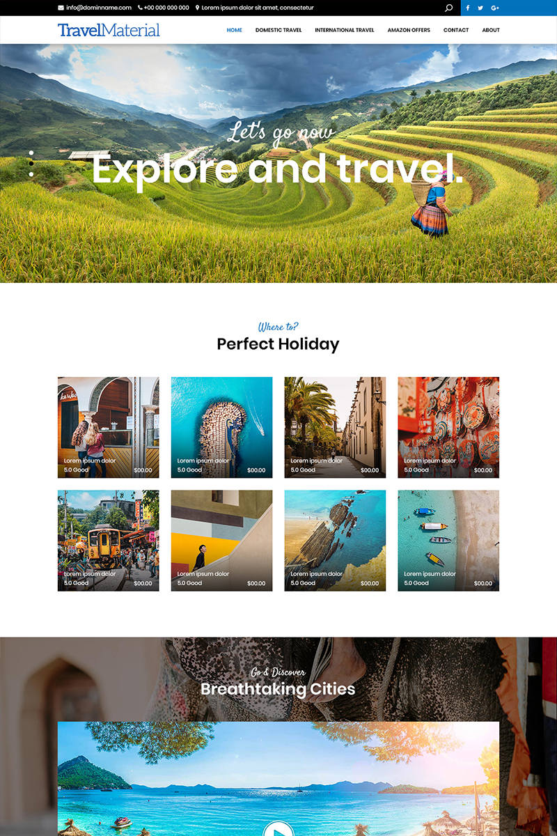 """""""Travel Material - Travel Company"""" PSD Template №82885"""