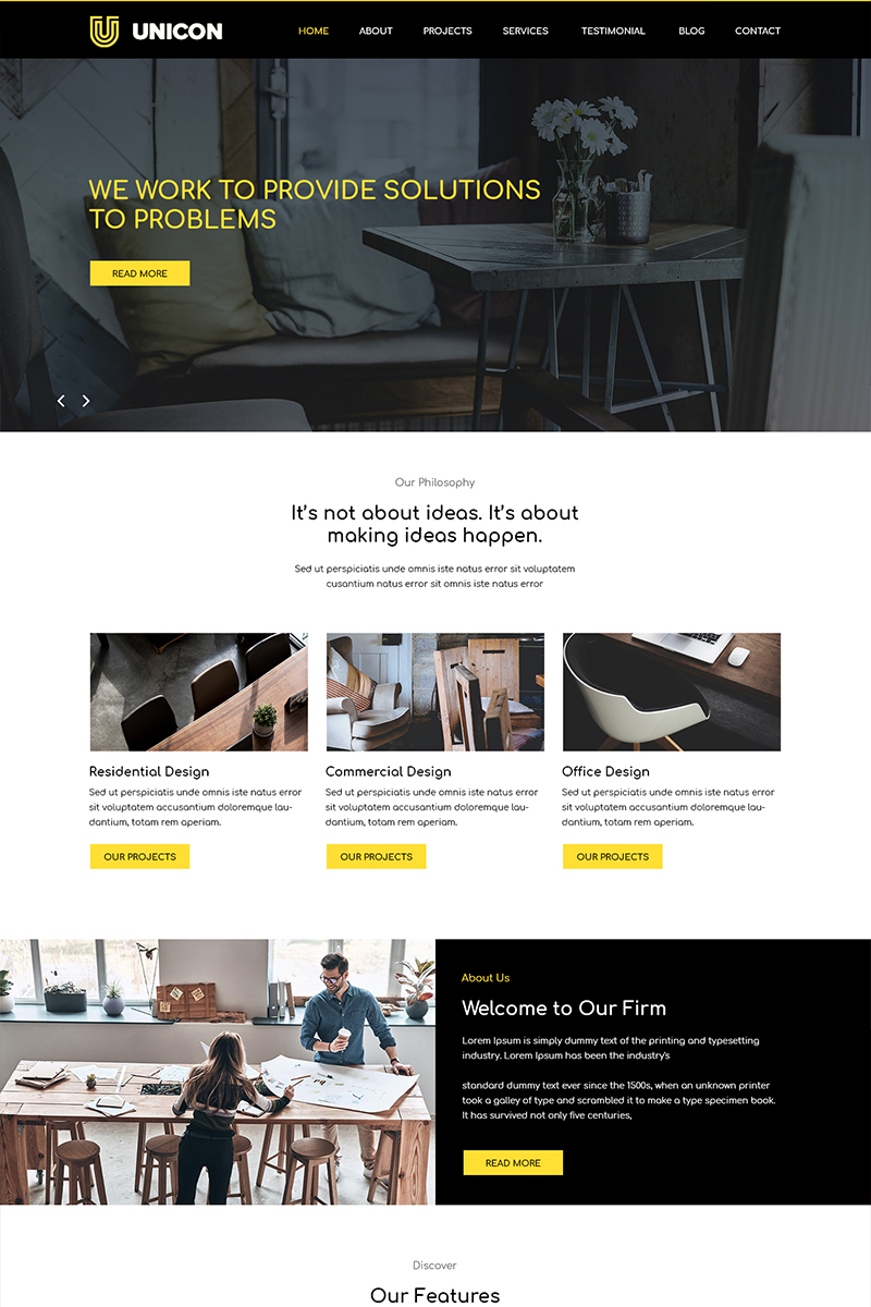 """Unicon - Interior Design Agency"" - PSD шаблон №82803"