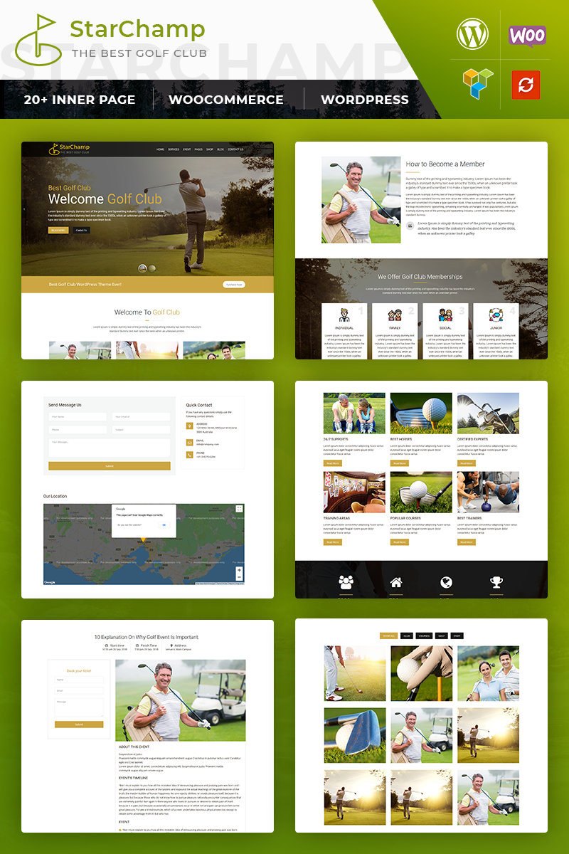 Bootstrap Star Champ: GolfClub WordPress sablon 82981