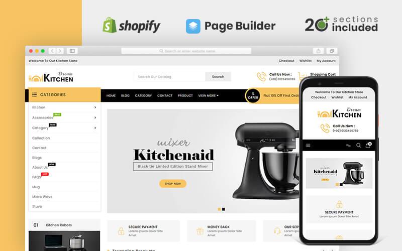 """""""Dream Kitchen Store"""" Responsive Shopify Thema №82942"""
