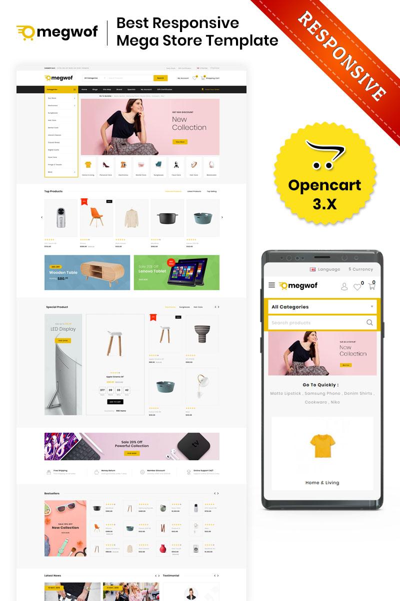 """""""Megwof - The Mega Store"""" - адаптивний OpenCart шаблон №82957"""