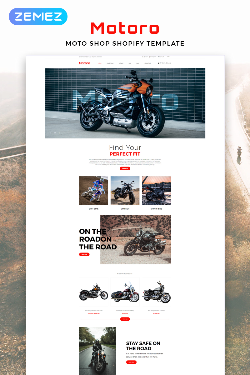 """Motoro - Bike Shop eCommerce Modern"" thème Shopify adaptatif #82913 - screenshot"
