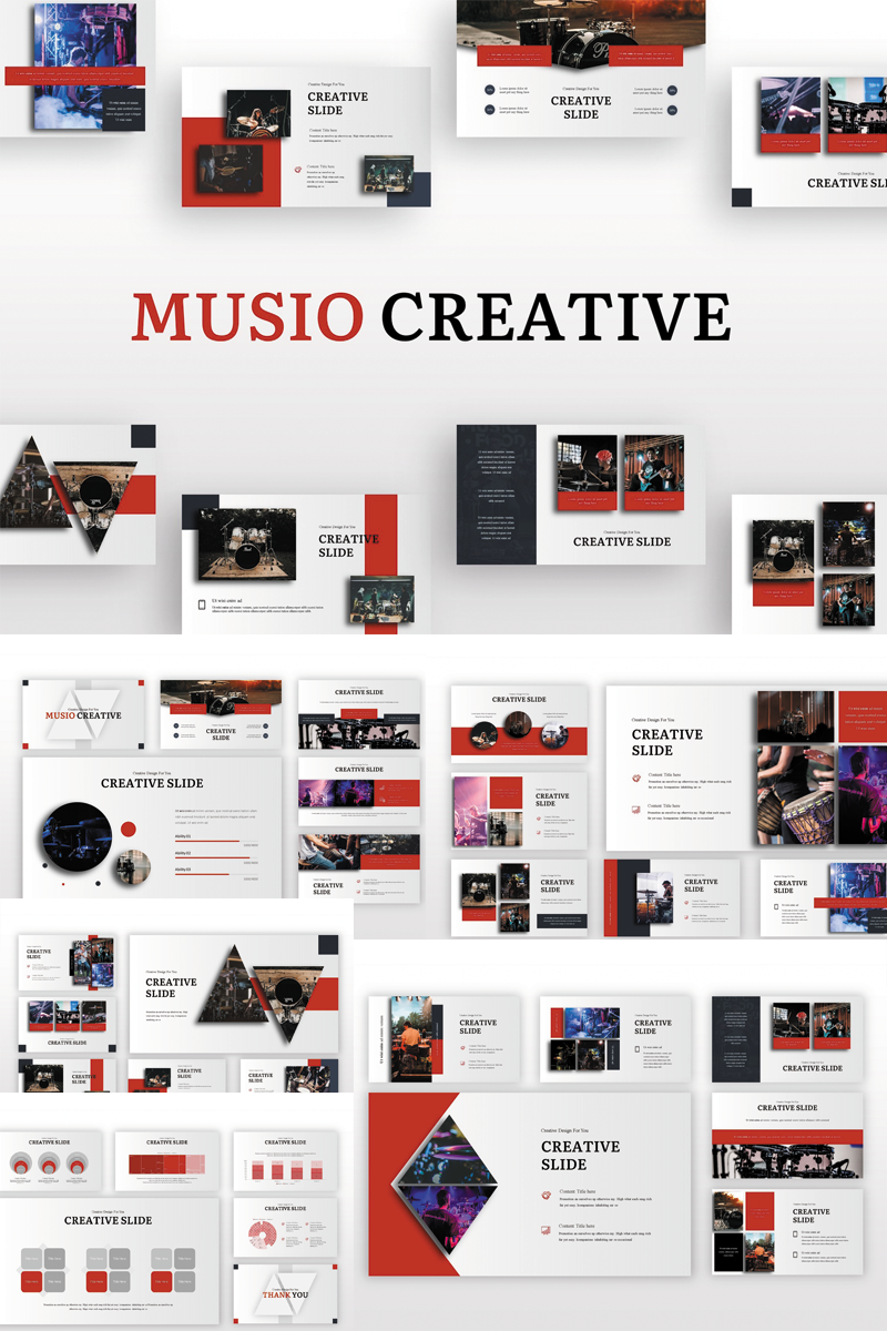 Prémium Musio Creative PowerPoint sablon 82910