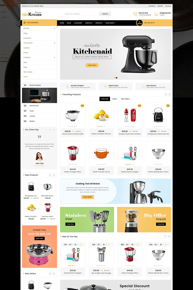 Responsivt Dream Kitchen Sectioned Shopify-tema #82942