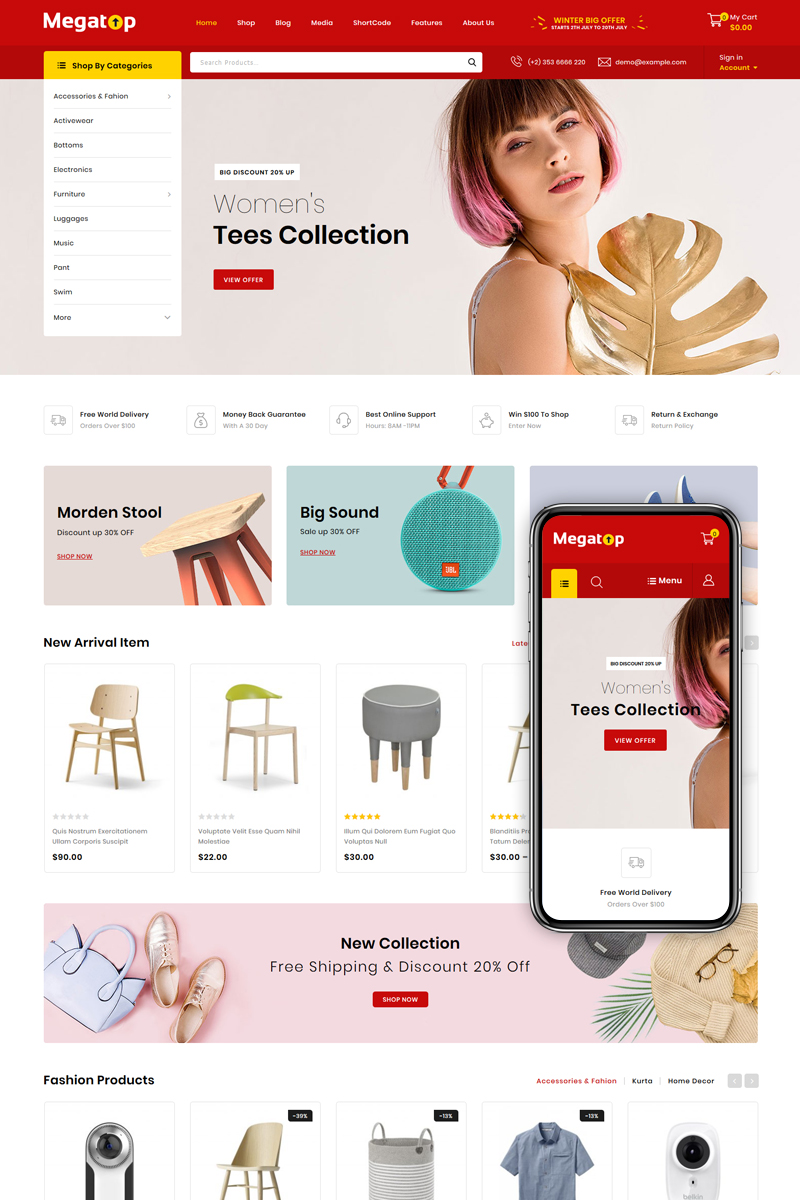 Reszponzív Megatop - Multipurpose Store WooCommerce sablon 82956