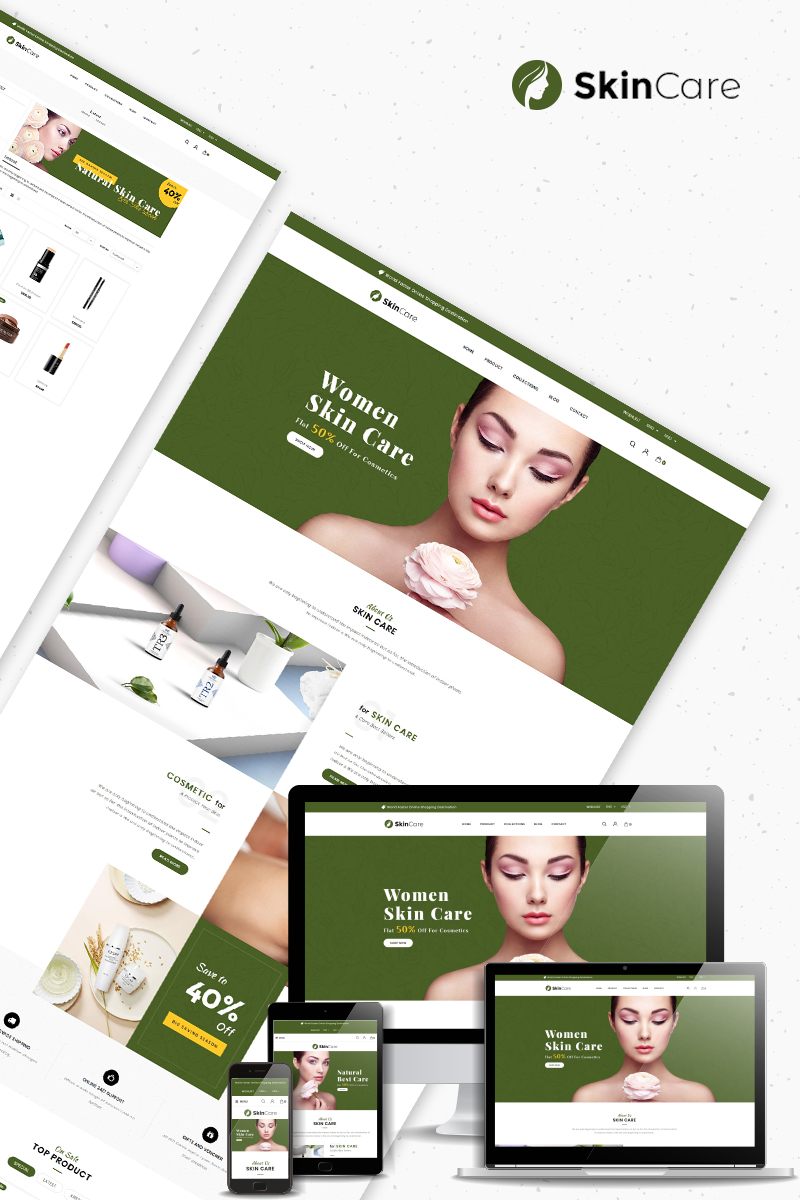 """""""Skin Care - Cosmetics Store"""" thème Shopify Bootstrap #82917"""