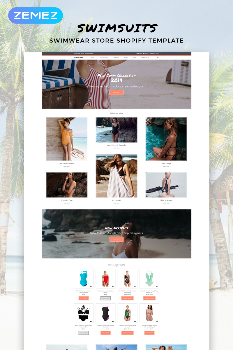 """""""Swimsuits - Swimwear Multipage Clean"""" 响应式Shopify模板 #82916"""