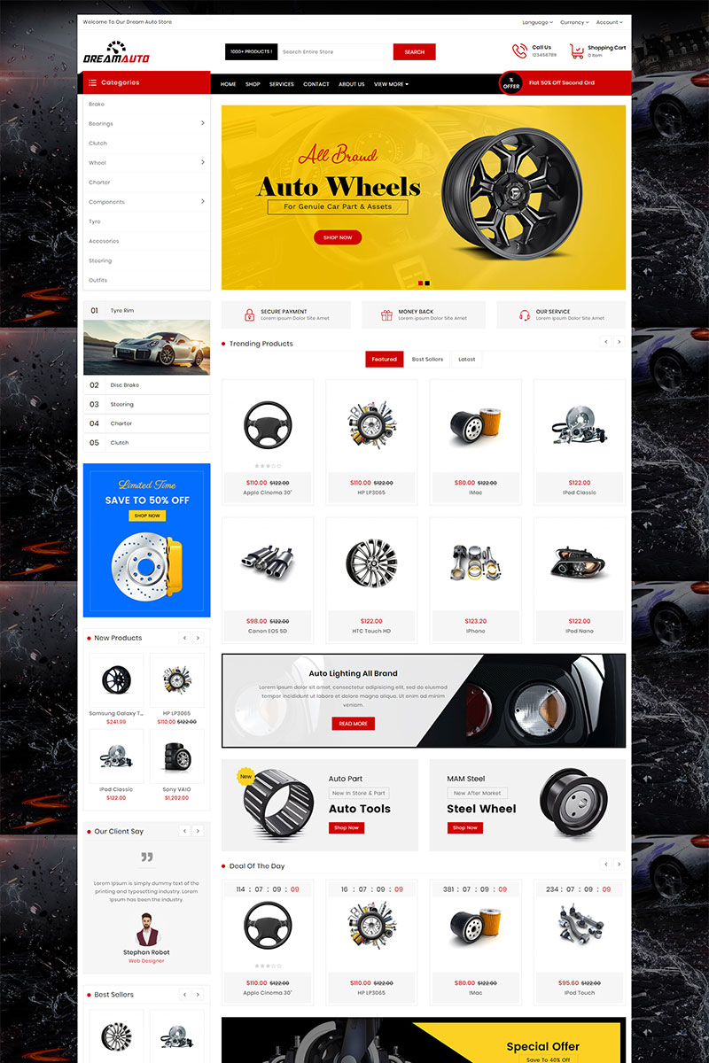 "Tema OpenCart Responsive #82944 ""Dream Auto Responsive"""