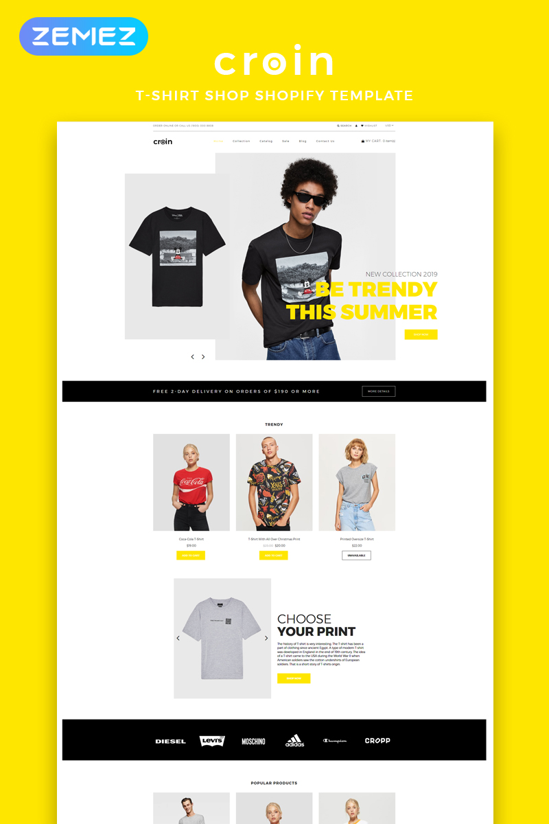 """Tema Shopify """"Croin - T-shirt Multipage Clean"""" #82915"""