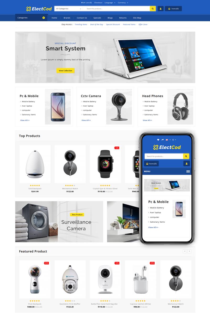 """Electcod - Multipurpose Store"" - адаптивний OpenCart шаблон №83030"