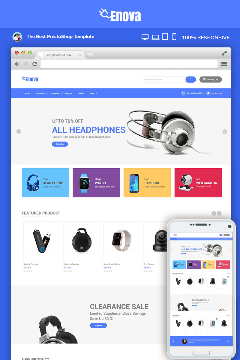 "Magento Theme namens ""Enova Electronics Mobile"" #83025"