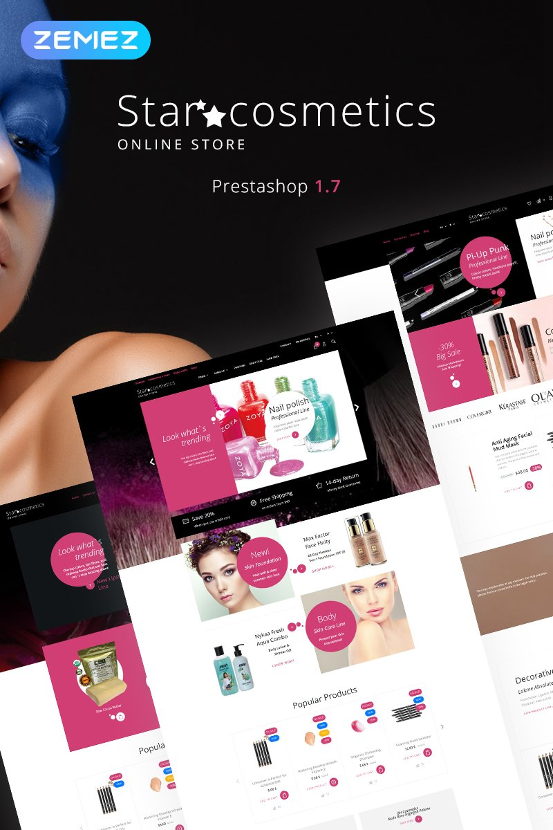 "PrestaShop Theme namens ""Star Cosmetics - Beauty Store Ecommerce Bootstrap Clean"" #83089"