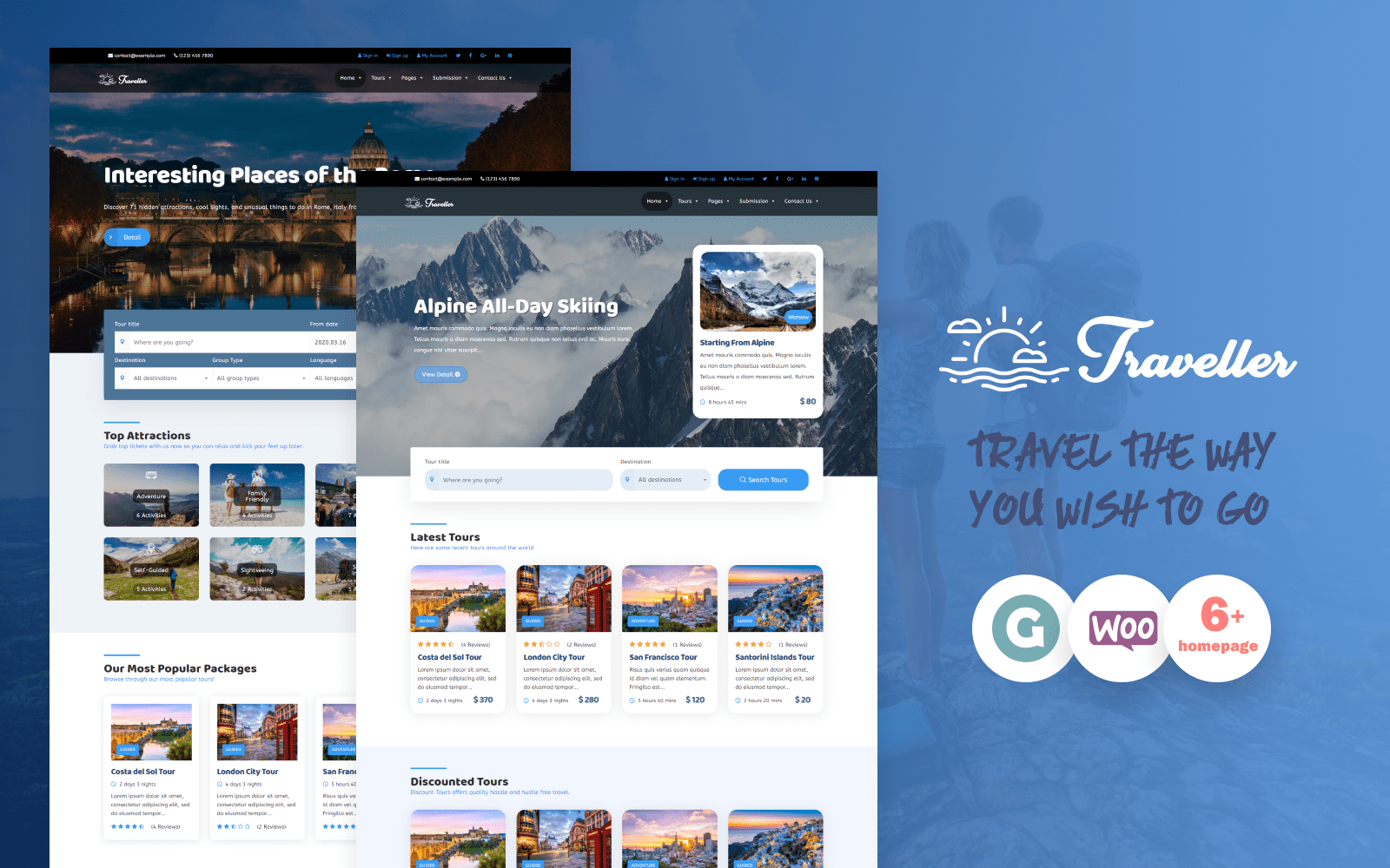 "Tema WordPress Responsive #83049 ""Traveller - Tour & Travel"""