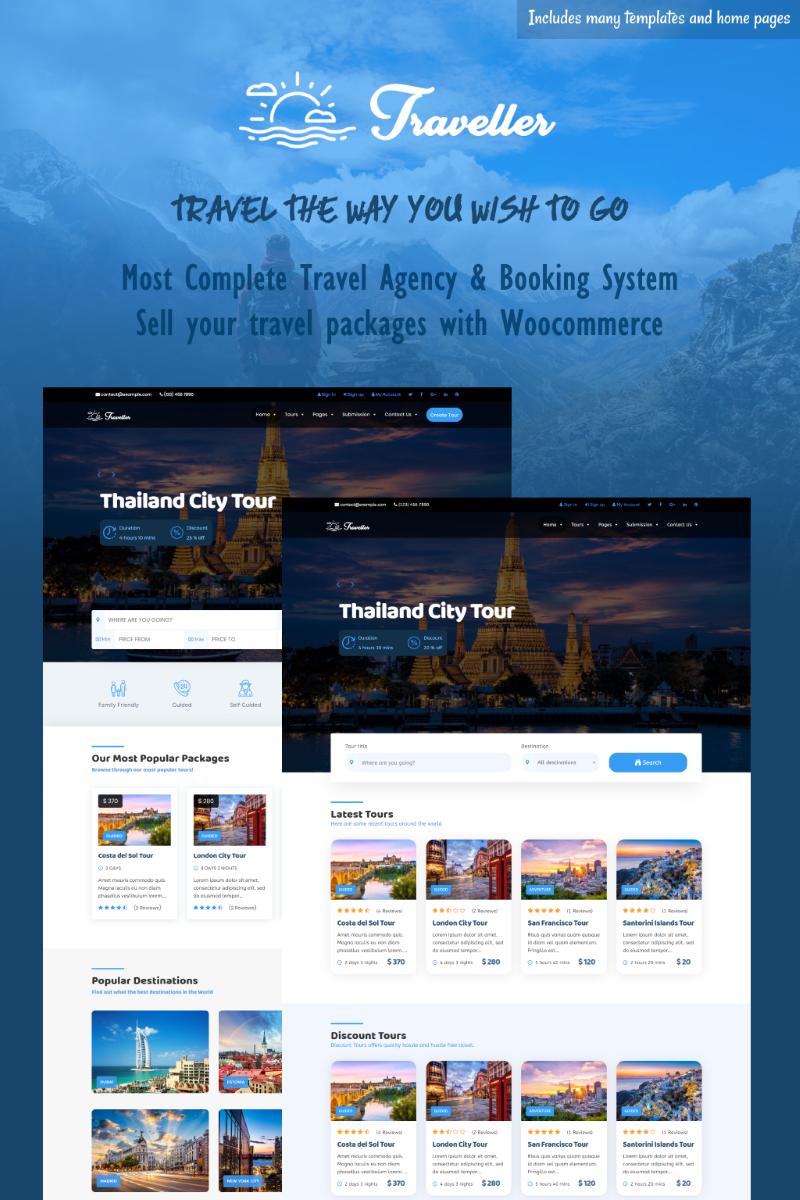 """Traveller - Tour & Travel"" 响应式WordPress模板 #83049"