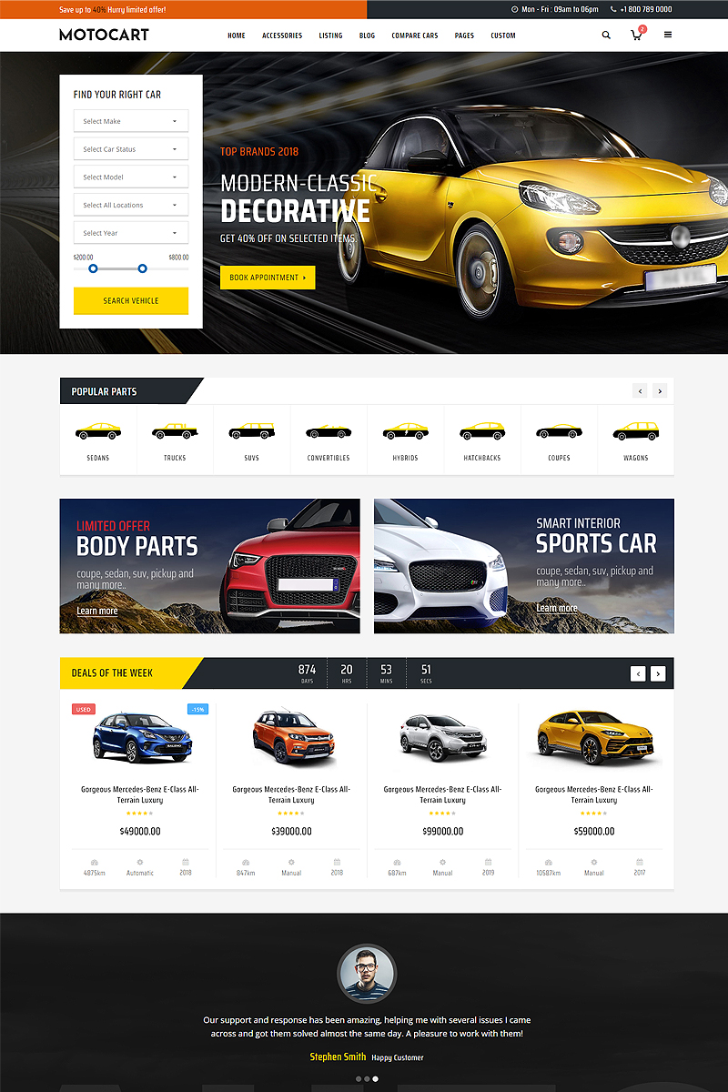 "Website Vorlage namens ""Motocart - Car Dealer"" #83054"