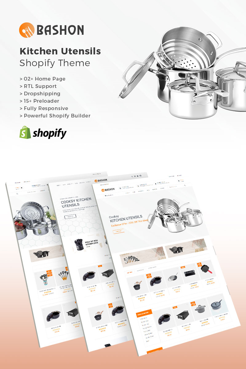 """Bashon - Kitchen Utensils"" - адаптивний Shopify шаблон №83178"