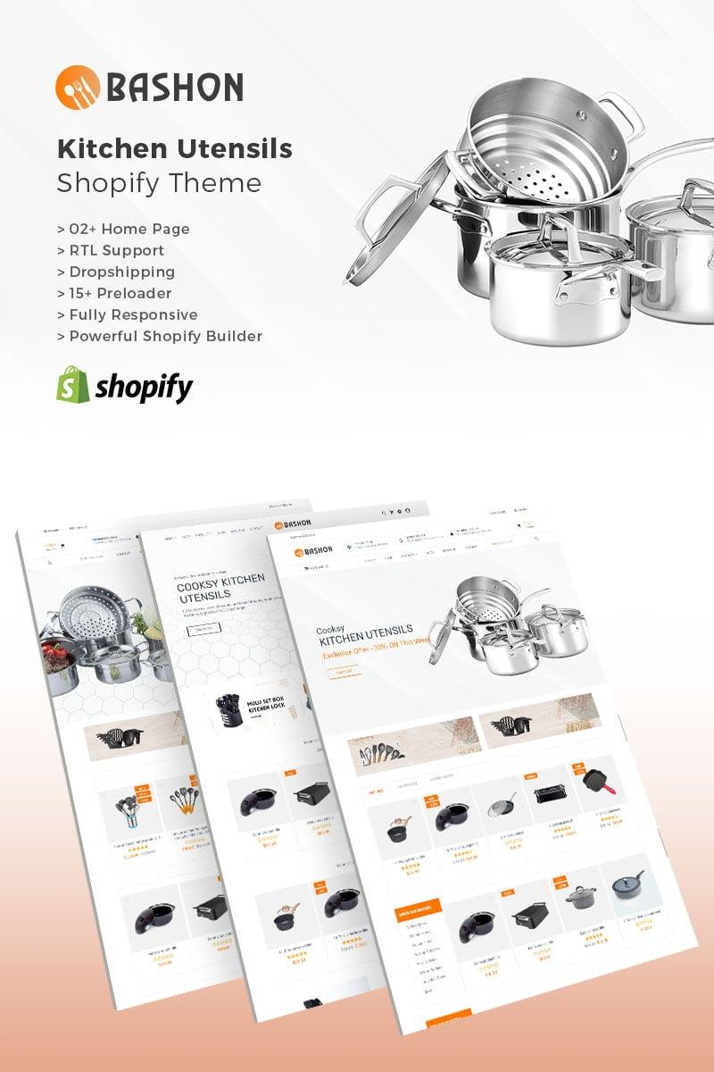 """Bashon - Kitchen Utensils"" 响应式Shopify模板 #83178"