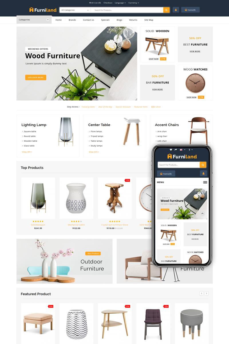 """Furniland - Home Decor Store"" - адаптивний OpenCart шаблон №83189"