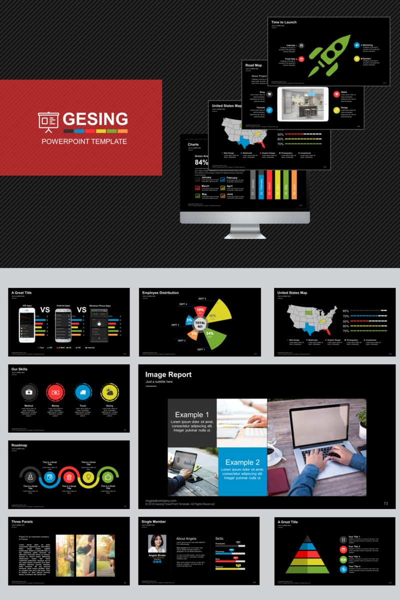 """Gesing"" modèle PowerPoint  #83144"