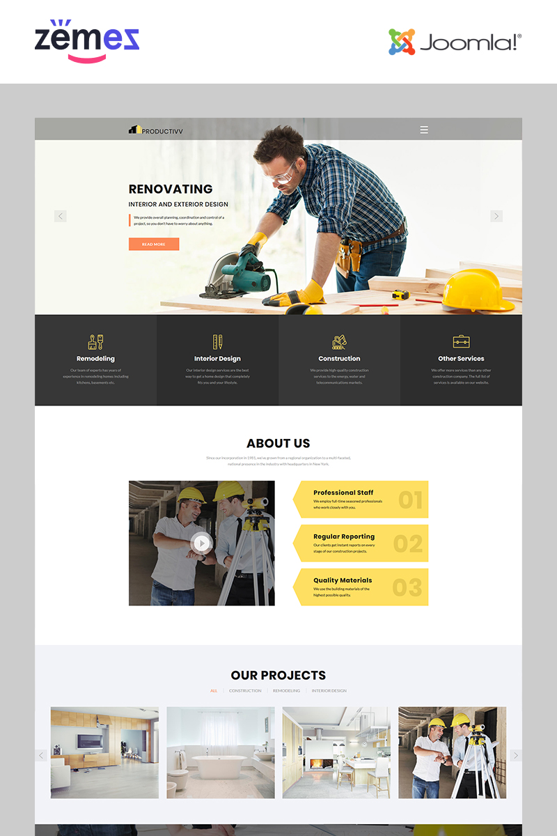 "Joomla Vorlage namens ""Productivv - Construction Clean"" #83110"