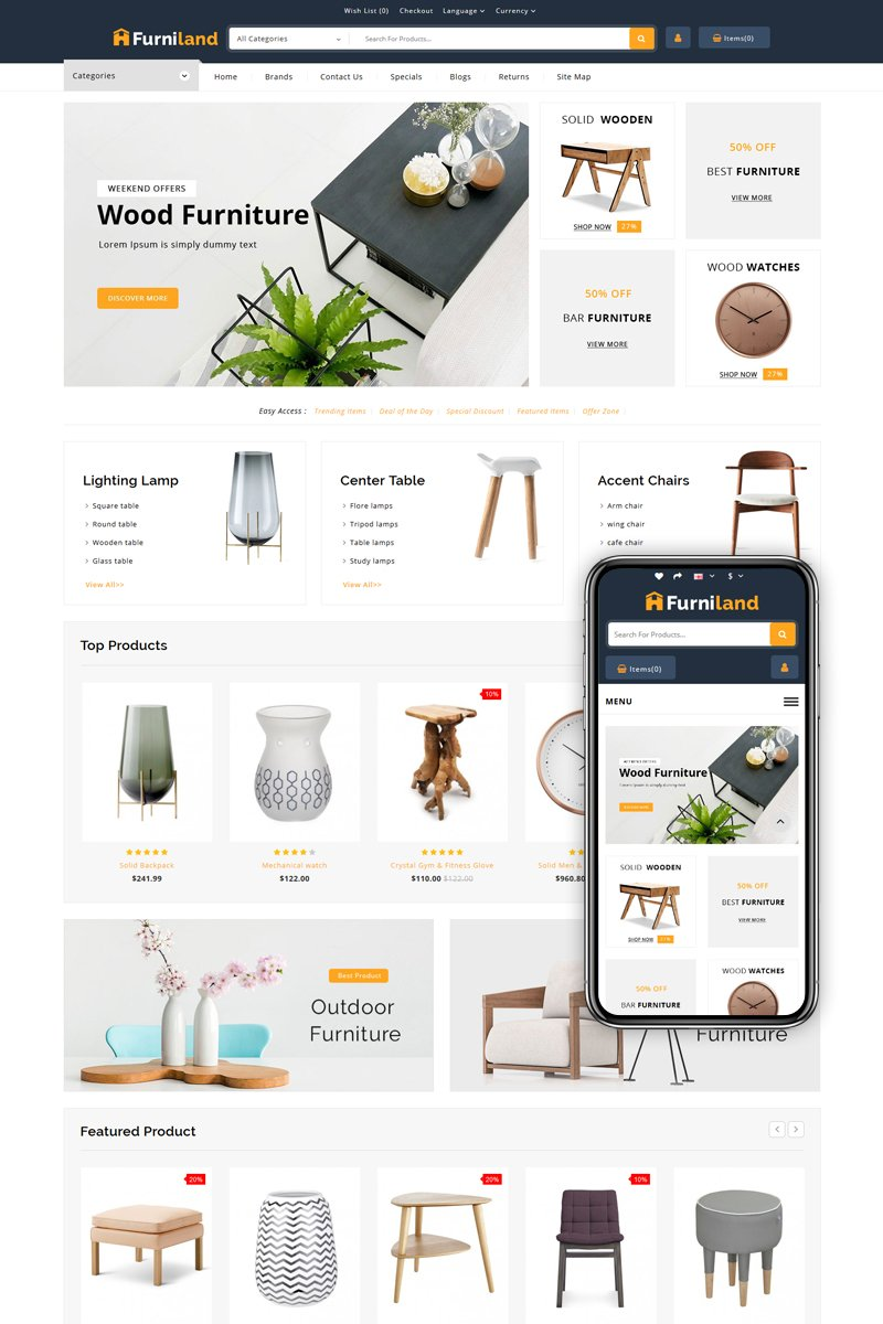 "OpenCart Vorlage namens ""Furniland - Home Decor Store"" #83189"