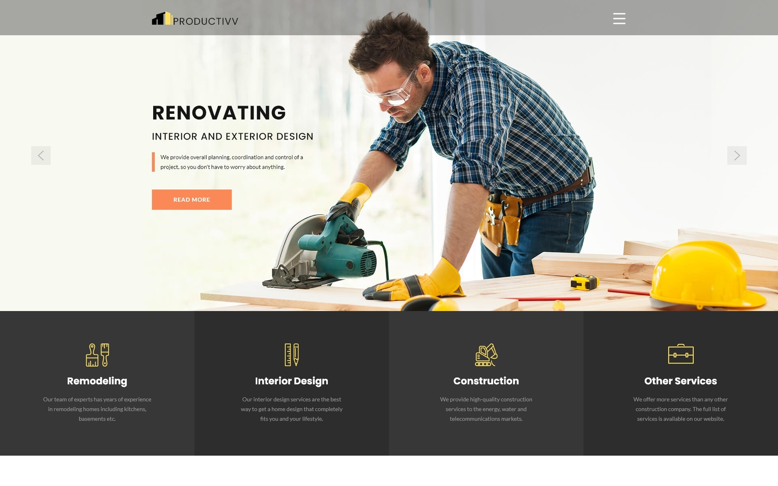 """Productivv - Construction Clean"" thème Joomla adaptatif #83110"