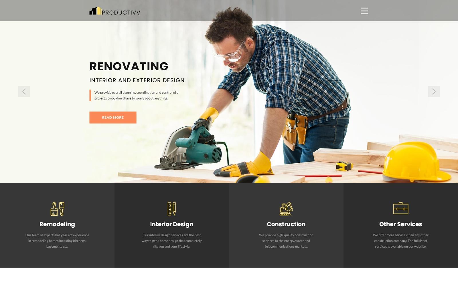 Responsywny szablon Joomla Productivv - Construction Clean #83110