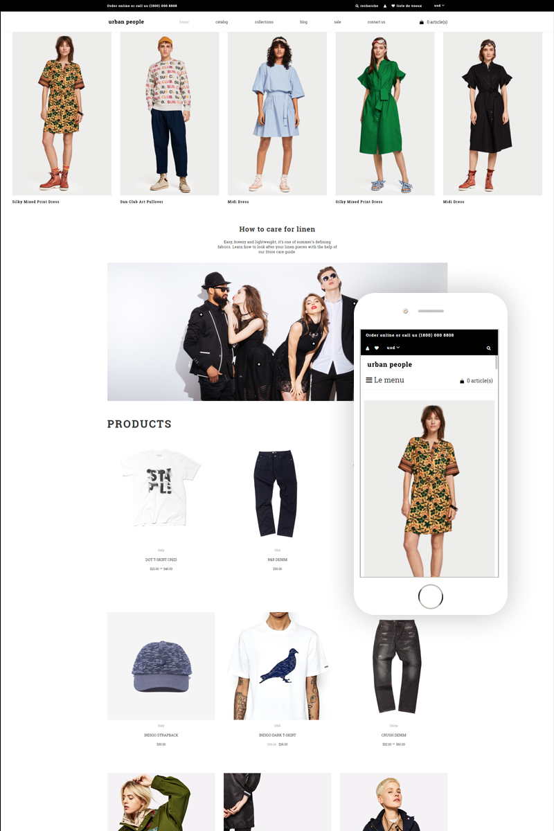 Responsywny szablon Shopify Urban People - Fashion Store Multipage Creative #83109