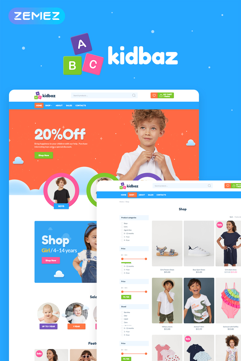 Reszponzív Kidbaz - Kids Stuff ECommerce Modern Elementor WooCommerce sablon 83155 - képernyőkép