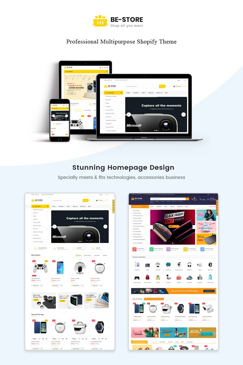 "Shopify Theme namens ""BeStore - Multipurpose"" #83191"