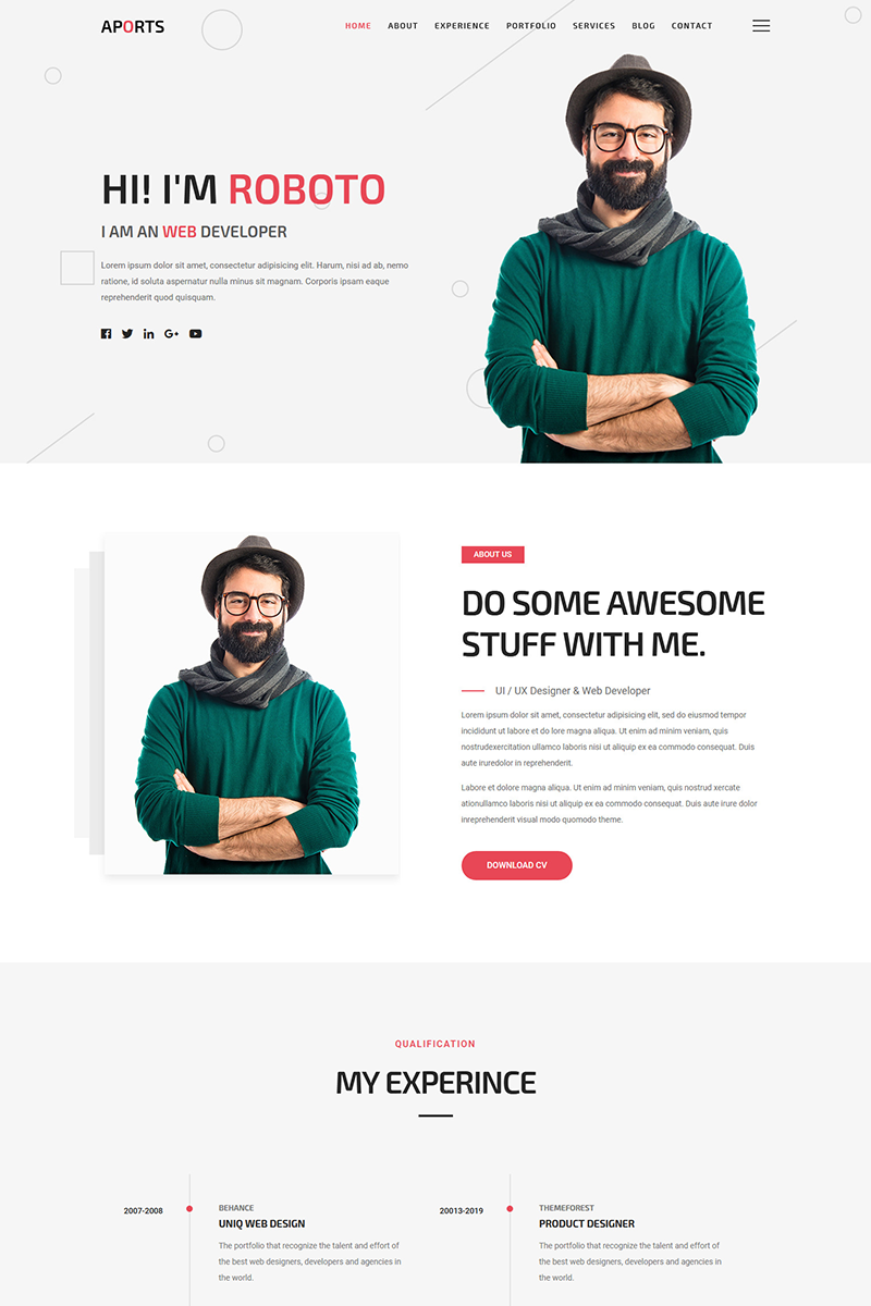 """Aports - Personal Portfolio Landing Page"" - адаптивний WordPress шаблон №83211"
