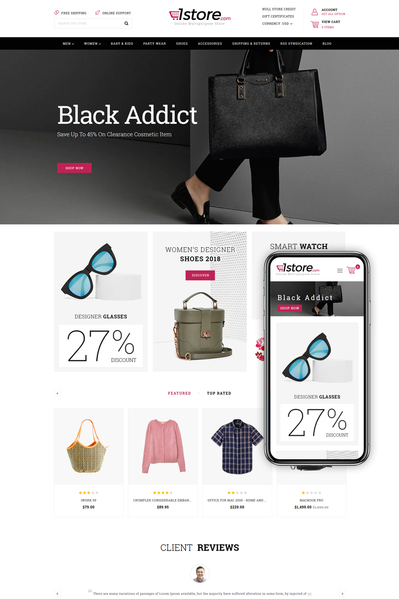 "BigCommerce Theme ""1Store - Multipurpose Stencil"" #83236"