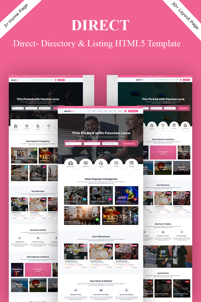 """""""Direct- Directory & Listing"""" Responsive Website template №83232"""