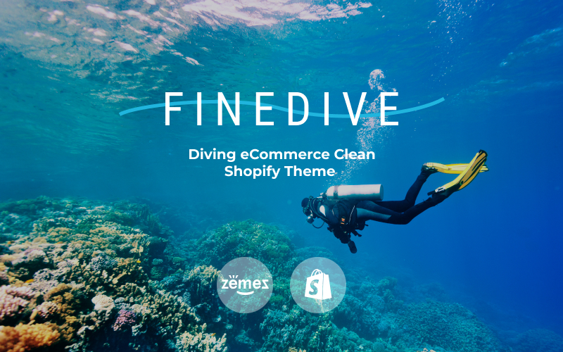 """Finedive - Diving eCommerce Clean"" - адаптивний Shopify шаблон №83214"