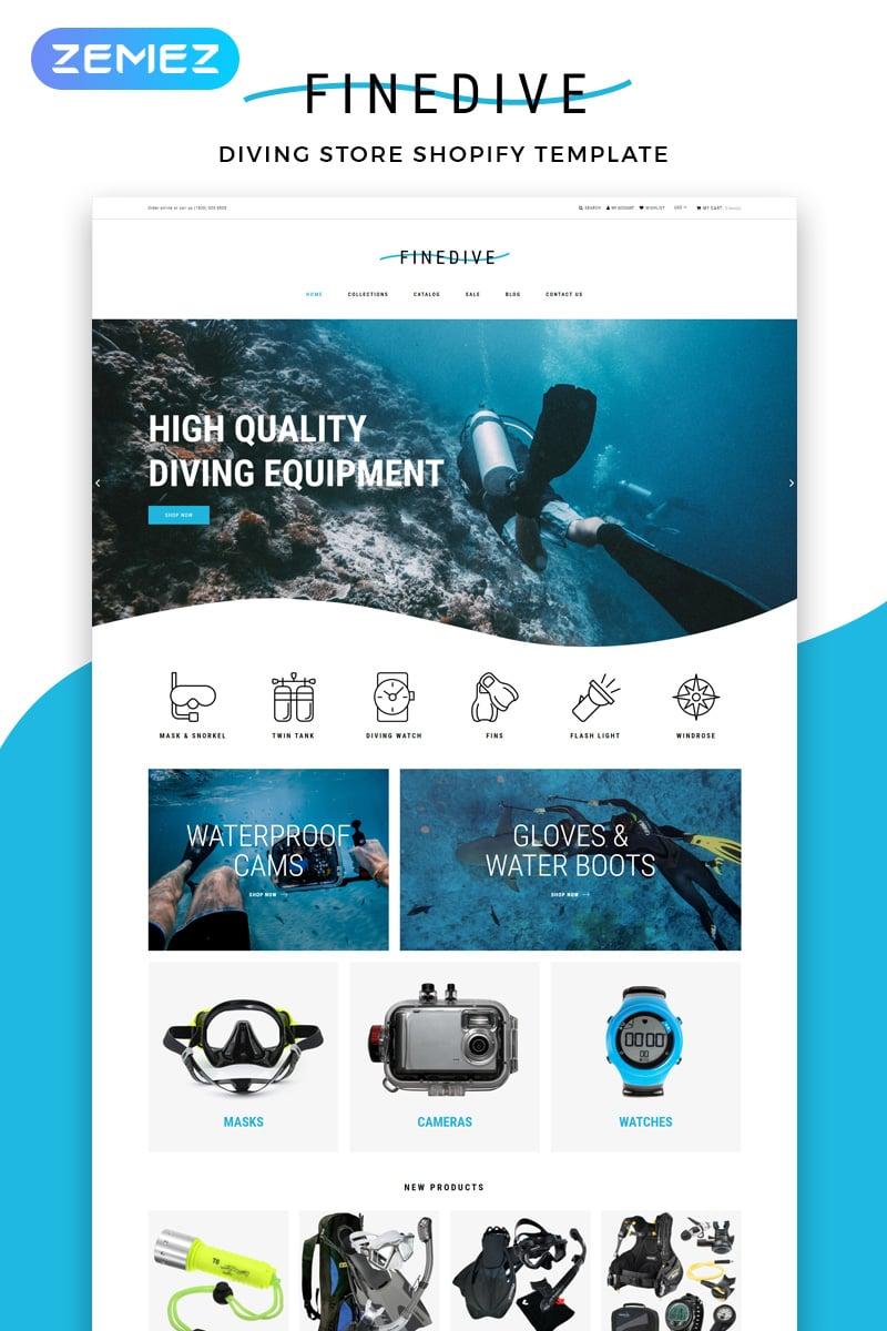 """Finedive - Diving eCommerce Clean"" thème Shopify adaptatif #83214"